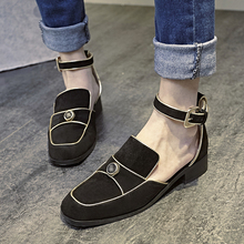 Women's Suede Leather Ankle Strap Flats Summer Shoes Brand Designer Square Toe Sandals Female Footwear Shoes for Women Calzados