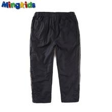 Mingkids Водонепроницаемый Ветрозащитный штаны мальчик теплые осень весна Брюки полностью флис подкладка на каждый день удобные талия резинка