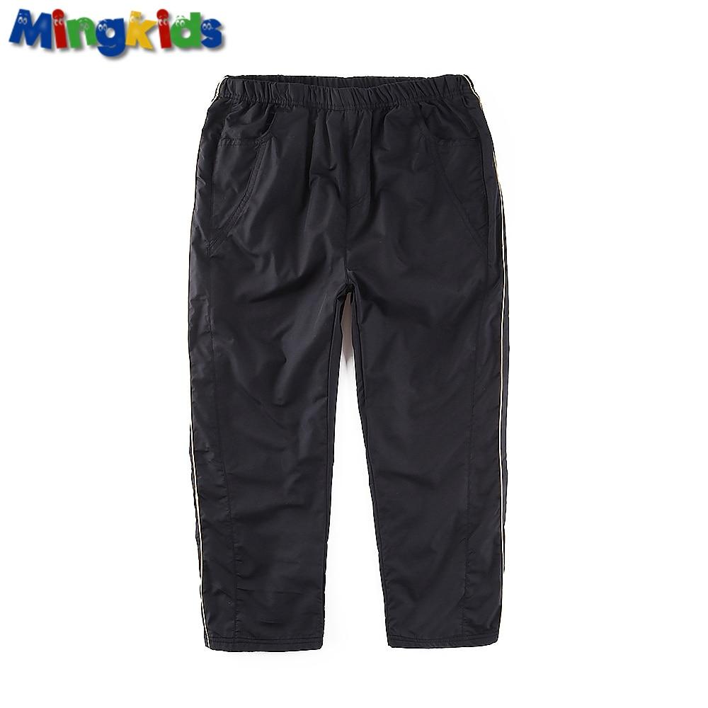 Mingkids impermeabil vânt băiat cald toamnă primăvară plin fleece căptușeală sport schi pantaloni de ploaie capris drept Clearance