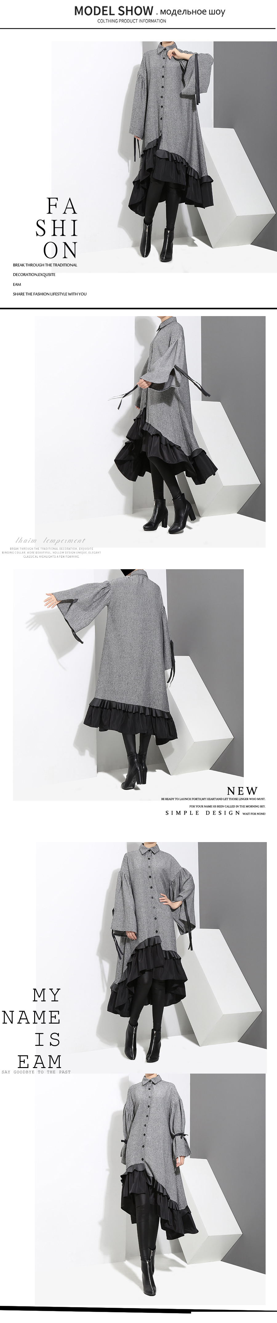 HTB1Gn2rjsj B1NjSZFHq6yDWpXaw - [EAM] 2019 New Spring Lapel Long Sleeve  Bandage Solid Color Gray Big Hem Irregular Loose Dress Women Fashion Tide JD717