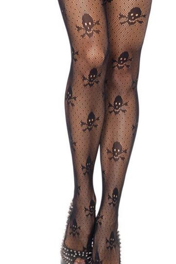 looking sexy high stockings fishnet Net Skull punk Stretch Pantyhose women 10pcs one lot