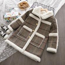 Модное пальто для девочек; сезон осень-зима пальто в полоску для девочек однобортное теплое пальто с лацканами для девочек длинный плащ для девочек