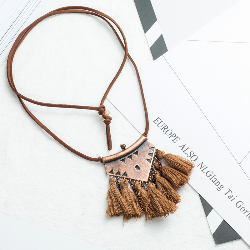 Long Leather Chain Vintage Boho Ethnic Tassel Pendant Necklace For Women Winter Sweater Chain Jewelry Accessories