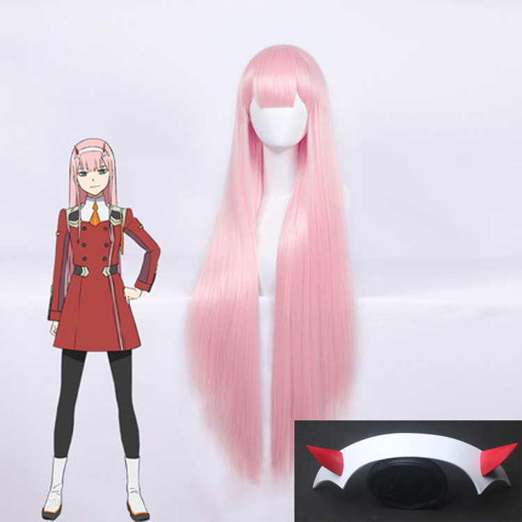 100cm Anime Darling In The Franxx ZERO TWO CODE : 002 Wig Long Pink Party Hair Heat Resistant Synthetic Hair Cosplay Costume Wig
