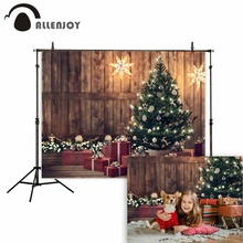 Allenjoy photography backdrops Christmas wood tree glitter vintage background photobooth photo studio photocall