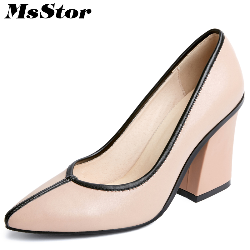 MsStor Genuine Leather High Heels Women Pumps Casual Fashion Pointed Toe Square heel Pumps Women Shoes Woman Brand Pumps Shoes