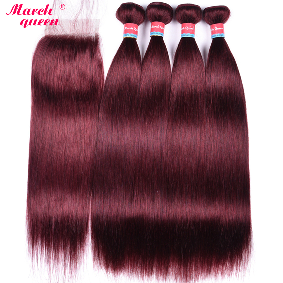 March Queen #99J Brazilian Straight Closure Human Hair With Bundles Red Wine Color Hair Weave With 4*4 Lace Closure Baby Hair