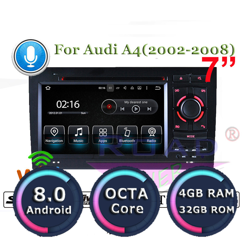 Roadlover Android 8.0 Car DVD Player Radio For Audi A4
