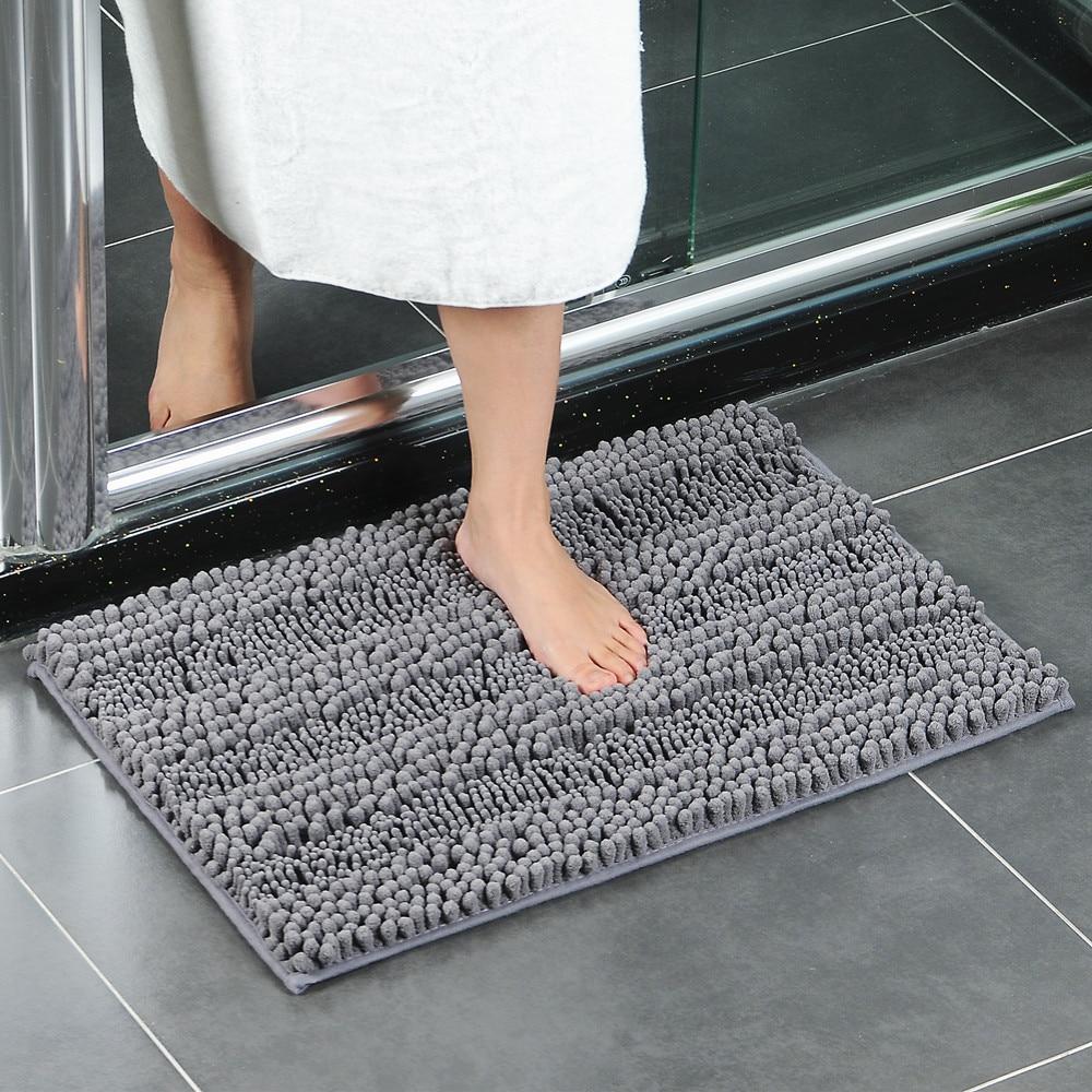 Super Absorbent Bath Mat Next To Tub Soft Chenille Bathroom Floor Carpet Anti-slip Shower Room Doormat Soft Foot Pad for Bedroom floor