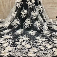 HFX White 3d Flower Tulle Lace French Fabric Latest High Quality African Fabric Bridal Dress Handmade Beaded Lace Fabric X1268 1