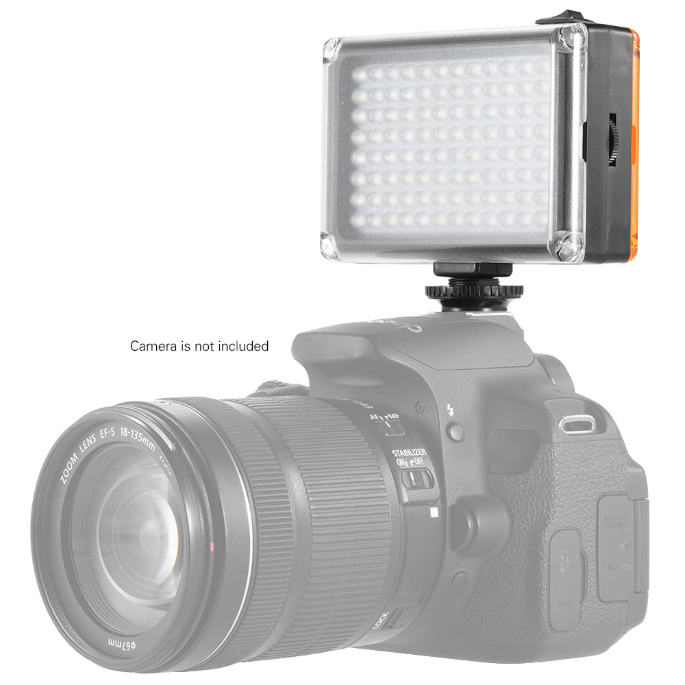 Inno AD-96 Mini Portable On-camera <font><b>5400K</b></font> / 3200K CRI85 <font><b>LED</b></font> Video Fill-in Light Panel with White Orange Filters for DSLR Camera