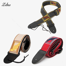 Zebra 30-49 inch Adjustable Guitar Belt Nylon Guitar Strap with Leather Ends For Electric Acoustic Guitar Parts & Accessories