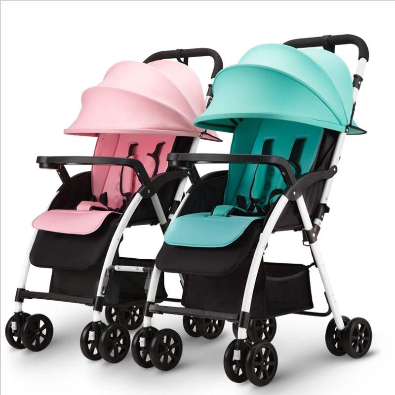 Свет Портативный складной Сепарабельные Детские двойняшек лежа и сидеть Детские близнецы каретки смесь цветов коляски для близнецов мальч