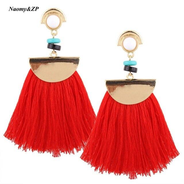Naomy&ZP Brand Drop Earrings For Women Bohemian Ethnic Big Long Tassel Earrings Wholesale Fashion Jewelry Style Earrings Female