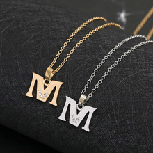 Cursive 26 English Initial Alphabet M name Necklace tiny word Letter monogram charm Metal Engagement necklace