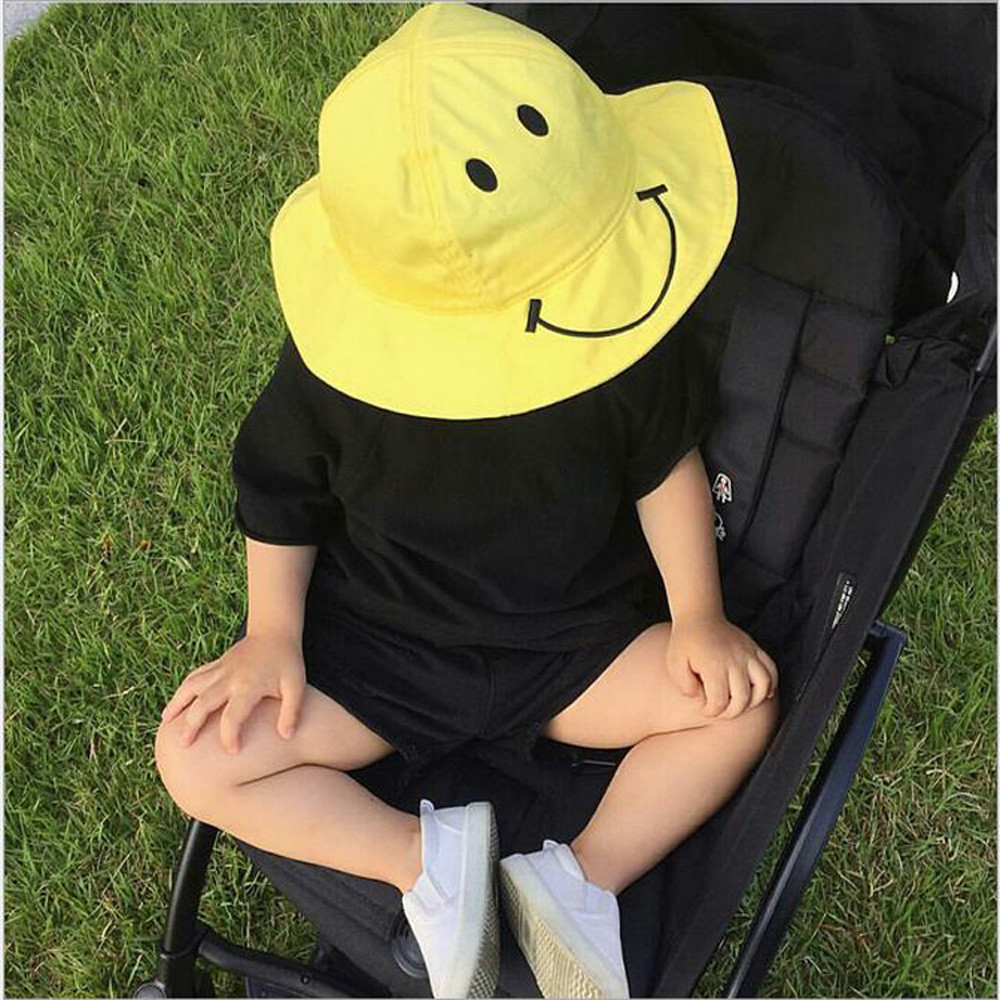 Baby Kids Sun Hat Cute Smiling face Design Bucket Hat Boys Girls Spring Summer Sun Protective Hat Children Cotton Fisherman Cap