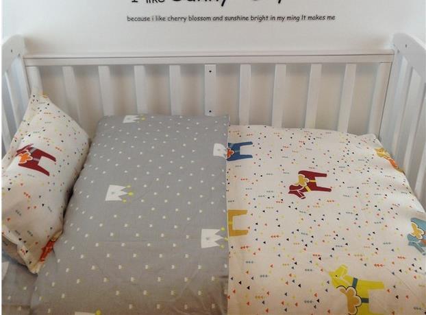 Promotion! 3PCS Cot Baby Bedding Set 100% Cotton Kids Bed Bedding ,Duvet Cover/Sheet/Pillow Cover,