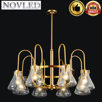 E27 Nordic LED Ceiling Chandelier Lighting 220V Retro Cafes Wall Decorative Lamp Glass lampshade Copper Chandelier