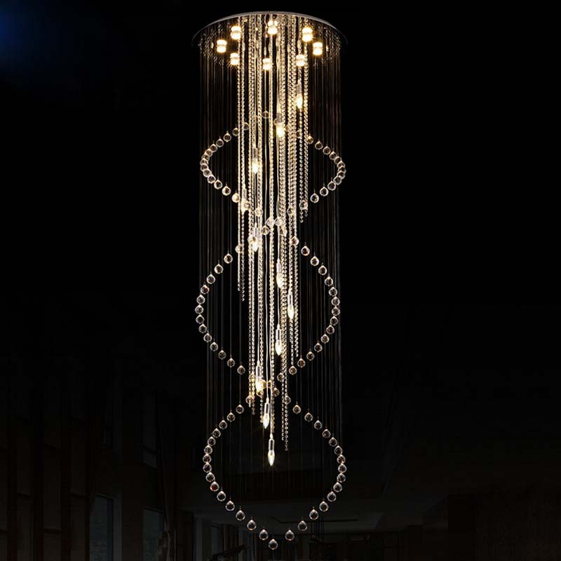 Z modern led crystal chandelier Spiral lamps round Double stair Chandelier for villa bedroom livingroom GU10 and E14 LED bulbs z best price led downlight droplight double ball stair crystalline light creative bar hotel led crystal chandelier parts