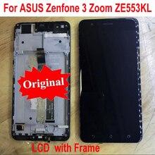 Original Beste Arbeits Sensor LCD Display Touch Panel Screen Digitizer Montage mit Rahmen Für Asus ZenFone 3 Zoom ZE553KL Z01HD