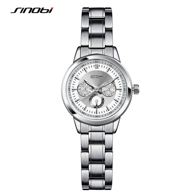SINOBI Luxury Watches Women Brand Silver Bracelet Watches Ladies Quartz Wristwat