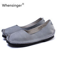 Whensinger - 2017 Woman Shoes Summer Genuine Leather Flats Slip On Ladies Loafers Casual Vintage Handmade Solid 4564