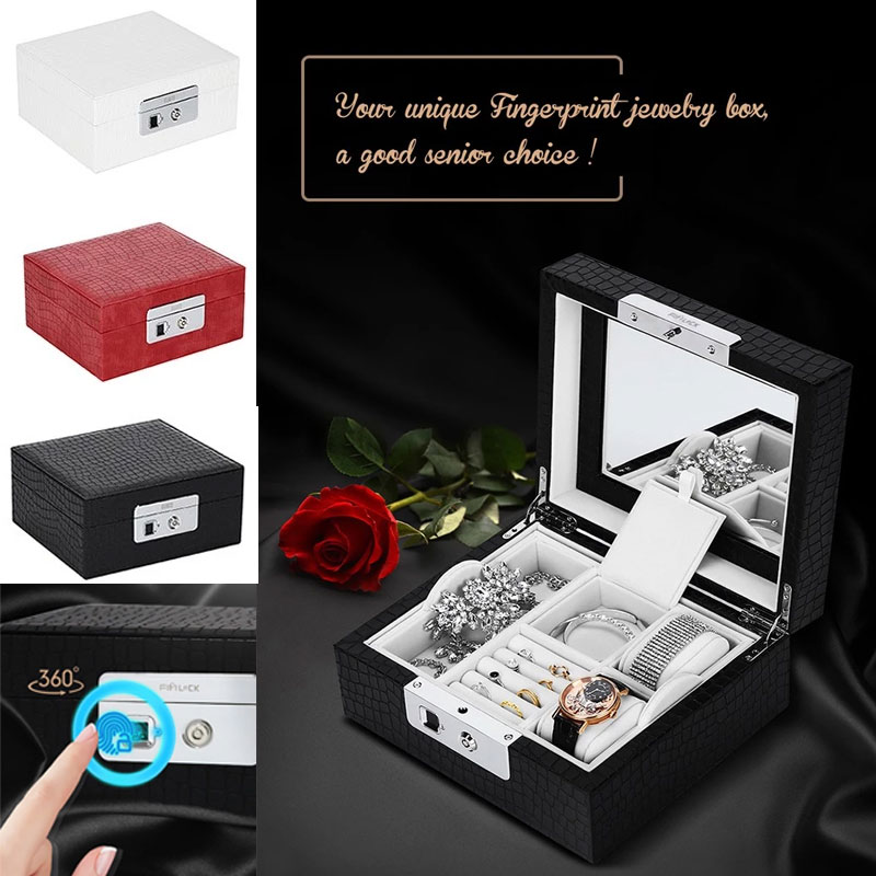 Luxury Women Fashion Mirror Storage Box With Fingerprints Unlock Double-layer Black Jewelry Necklace Watch Box Fingerprint Lock