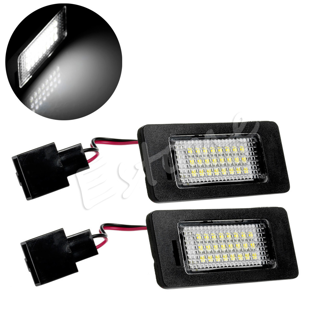 все цены на  1Pair 24LED Error Free License Plate Light For Audi A4 B8 A5 S5 TT Q5 Passat R36 Car Light Source  онлайн