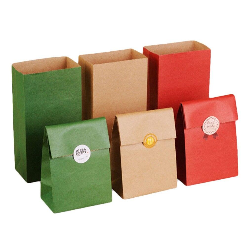 טאוס 30 יחידות חג מולד נייר שקיות נייר מתנת צבע אחיד בציר שקיות ספר ממתקים תחתון שטוח לחטיף מזון עוגת איפור קרפט