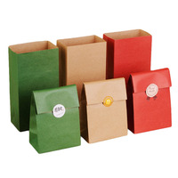 TAOS 30PCS Christmas Paper Bags Vintage Solid Color Gift Paper Bags Flat Bottom For Food Snack