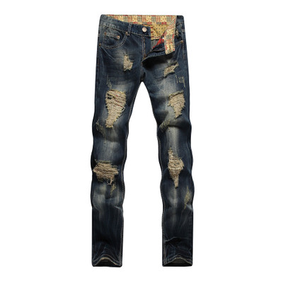 2018 New Fashion Mens Jeans Washed Distressed Moustache Effect Jeans Males Casual Street Jeans with 42 Size