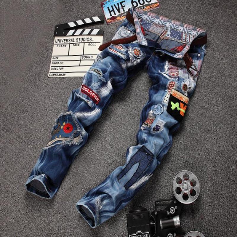 Personality Badge Patchwork font b Jeans b font font b Men b font Ripped font b
