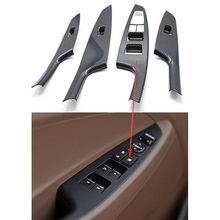 4pcs set Auto Carbon fiber Style font b Interior b font Door Handle Cover Armrest Decoration