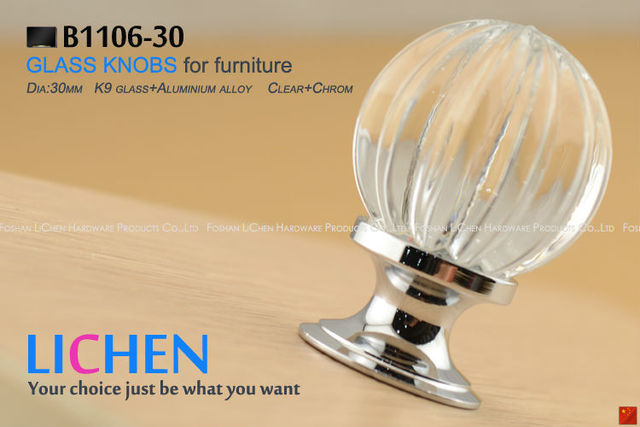 Free Shipping 30mm LICHEN K9 Glass Knobs pumpkin knobs Crystal Furniture Handle diamond knobs& Cabinet &Drawer Knob