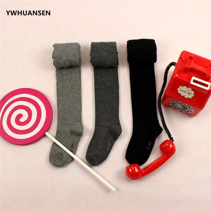 YWHUANSEN Spring Autumn Pure Color Pantyhose For Girls Cotton Baby Boys Tights Dancing Tights For Children Soft Collant Enfant