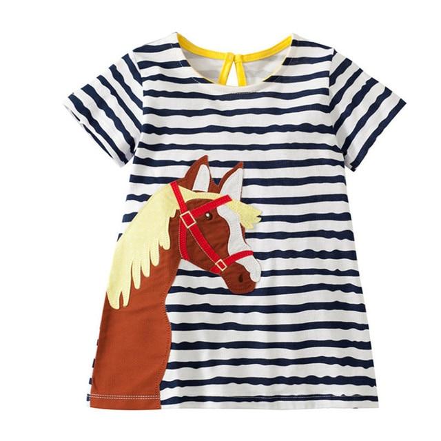 af237c9dc539 Brand Animals Horse Applique Girls Dresses New Design Cotton Baby ...