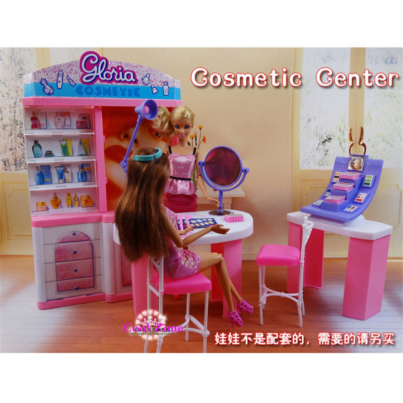 цены  New Arrival Miniature Furniture Cosmetic Center for Barbie Doll House Classic Toys for Girl Free Shipping