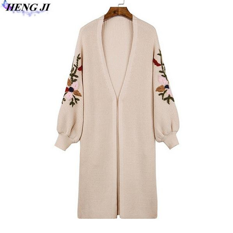 New 2017 Knitted Long Cardigan Lantern Sleeve Embroidery Women Cardigan Coat Warm Sweater Female Drop Shoulder