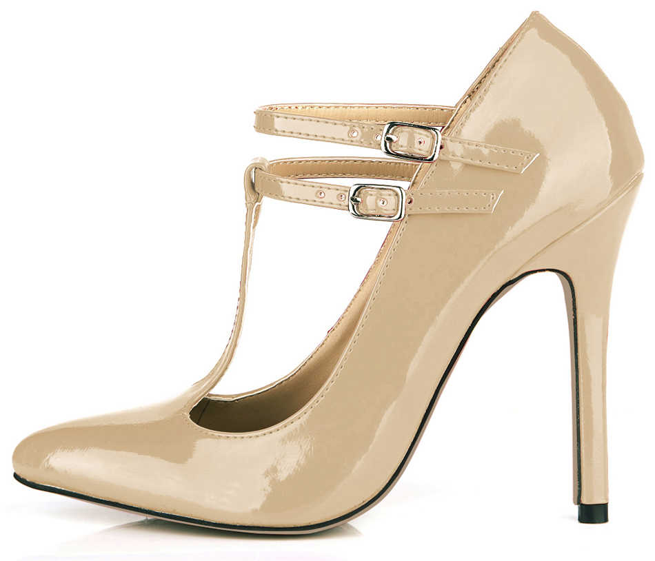 CMILE CHAU Pearl PU Sexy Party Gress Women's Shoes Pointed Toe Stiletto High Heel T-Strap Pumps Buckle Zapatos Mujer 0640-i
