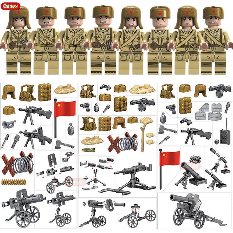 2 Oenux Nova Guerra Mundial Da Guerra Da Coréia WW2 Leberation do Povo Chinês Exército Militar Building Block Figuras Tijolo MOC brinquedos Para As Crianças