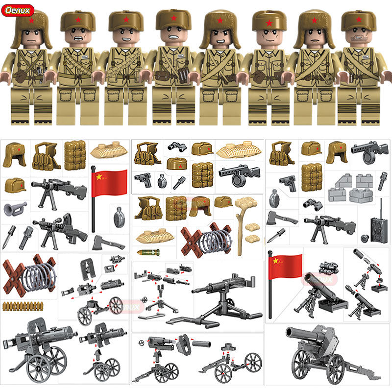 Oenux New World War 2 The Korean War Military Building Block WW2 Chinese People's Leberation Army Figures Brick MOC Toy For Kids new arrival world war ii the battle of taierzhuang military building brick ww2 chinese japanese army figures building block toy