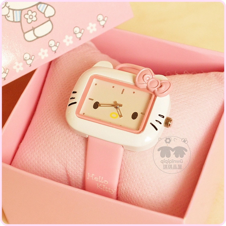 Korean Edition cute KT cat fashion female watch Hello Kitty cartoon child watch jelly color girl WatchKorean Edition cute KT cat fashion female watch Hello Kitty cartoon child watch jelly color girl Watch