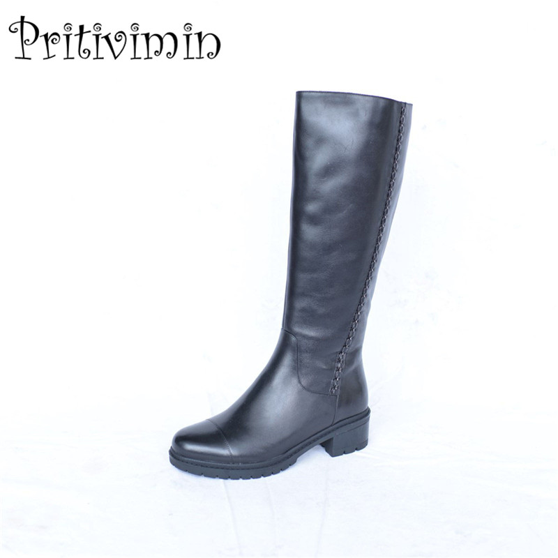 2017 Ladies genuine leather bottes winter women warm real fur lined handmade shoe girl thick heel riding boots Pritivimin FN31