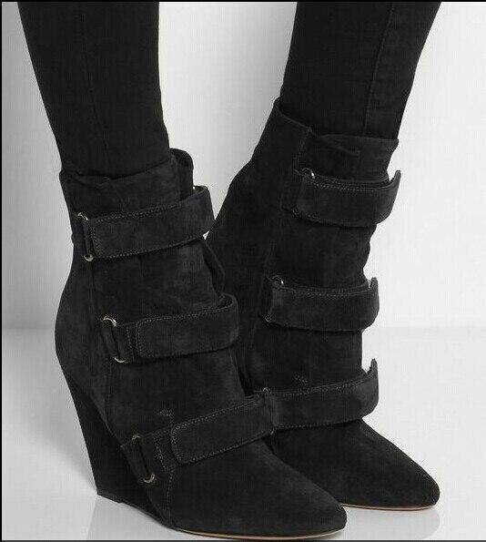 Pista della caviglia punta a punta stivali di alta qualità stivali zeppa in pelle donna di modo breve stivali buckle strap stivali nero beige - 2