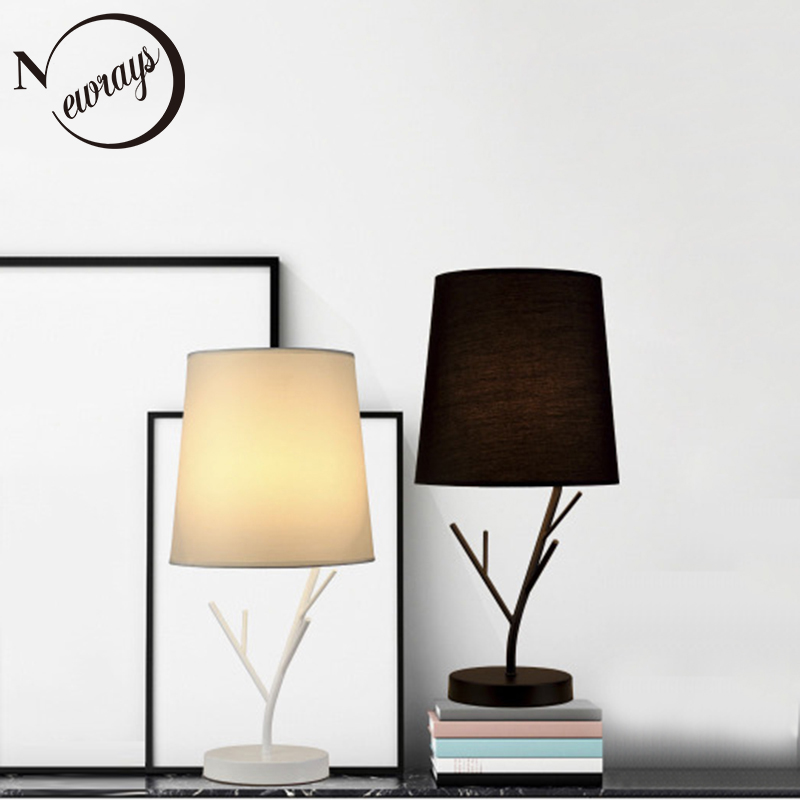 Modern Nordic iron fabric table lamp simple creative desk lamp LED E27 with 2 colors for study bedroom living room cafe hotel bedroom table lamp modern simple wood stand table lamp with fabric lamp shade desk lamp study lamparas kumastb
