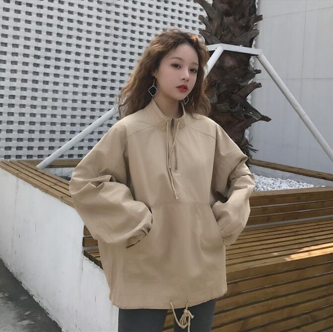 Autumn loose wild long-sleeved loose coat women's sweater 02 bell sleeves buttoned loose fitted coat