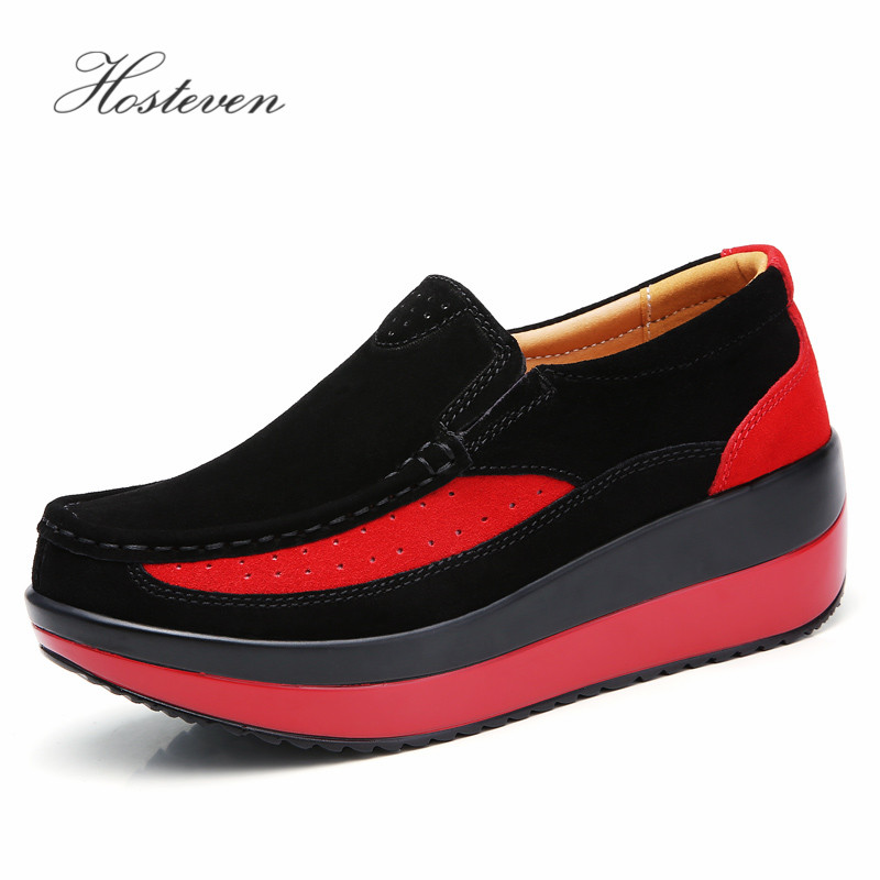 Image 4 - Hosteven Women's Shoes Flat Sneakers Ballet Genuine Leather Platform Woman Shoes Slip On Female Women's Loafers Moccasins Shoe-in Women's Flats from Shoes