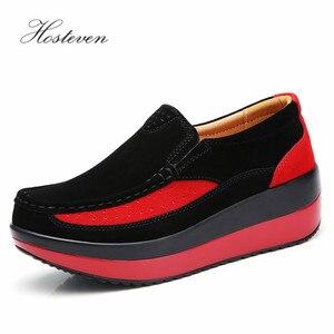Image 4 - Hosteven kadın ayakkabısı Düz Ayakkabı Bale Hakiki Deri Platformu Kadın Ayakkabı Üzerinde Kayma Kadın kadın Loaferlar Moccasins Ayakkabı