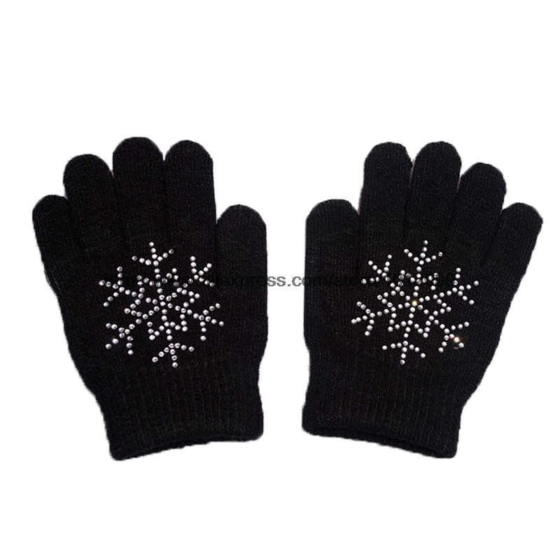 10 Colors Magic Wrist Gloves Figure Skating Ice Training Gloves Exquisite Warm Fleece Thermal Child Adult Snow Rhinestone 8