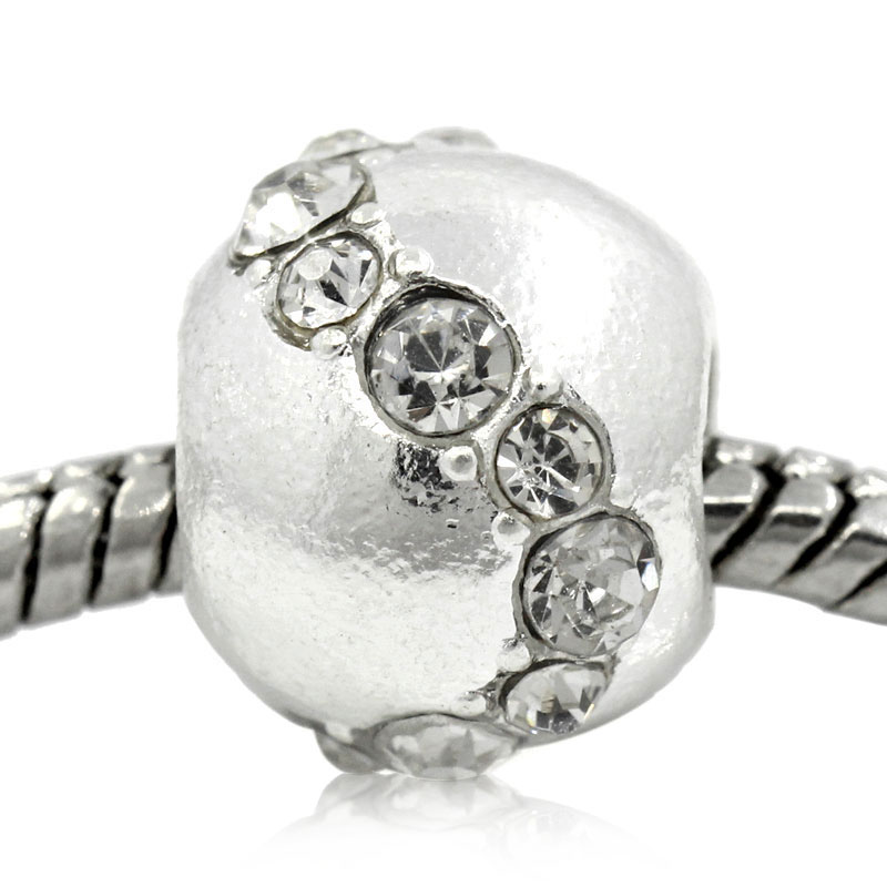 DoreenBeads European Charm Beads Round Silver color W/Clear Rhinestone 12x10mm,Hole:Approx:5.6mm,5PCs 2015 new
